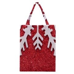 Macro Photo Of Snowflake On Red Glittery Paper Classic Tote Bag