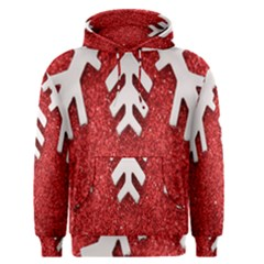 Macro Photo Of Snowflake On Red Glittery Paper Men s Pullover Hoodie