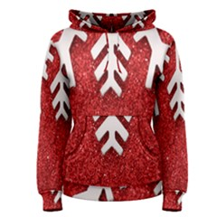 Macro Photo Of Snowflake On Red Glittery Paper Women s Pullover Hoodie