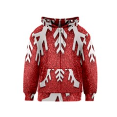 Macro Photo Of Snowflake On Red Glittery Paper Kids  Zipper Hoodie