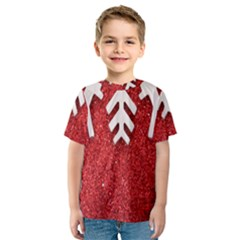 Macro Photo Of Snowflake On Red Glittery Paper Kids  Sport Mesh Tee