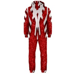 Macro Photo Of Snowflake On Red Glittery Paper Hooded Jumpsuit (Men)