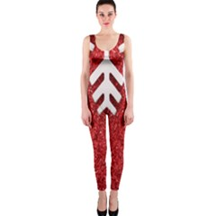 Macro Photo Of Snowflake On Red Glittery Paper Onepiece Catsuit