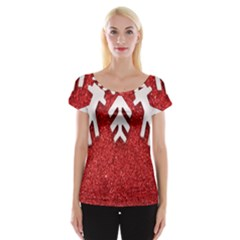 Macro Photo Of Snowflake On Red Glittery Paper Women s Cap Sleeve Top