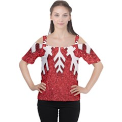 Macro Photo Of Snowflake On Red Glittery Paper Women s Cutout Shoulder Tee