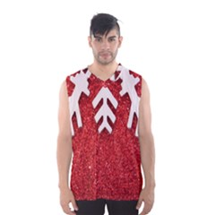 Macro Photo Of Snowflake On Red Glittery Paper Men s Basketball Tank Top
