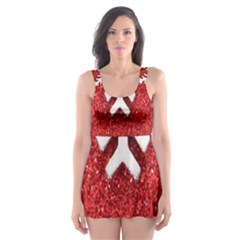 Macro Photo Of Snowflake On Red Glittery Paper Skater Dress Swimsuit