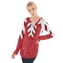 Macro Photo Of Snowflake On Red Glittery Paper Women s Tie Up Tee