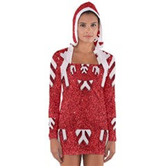 Macro Photo Of Snowflake On Red Glittery Paper Women s Long Sleeve Hooded T-shirt