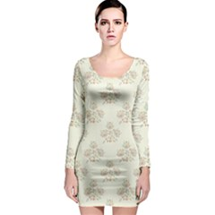 Seamless Floral Pattern Long Sleeve Bodycon Dress