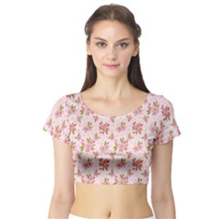 Beautiful hand drawn flowers pattern Short Sleeve Crop Top (Tight Fit)