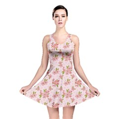 Beautiful hand drawn flowers pattern Reversible Skater Dress