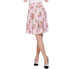 Beautiful hand drawn flowers pattern A-Line Skirt