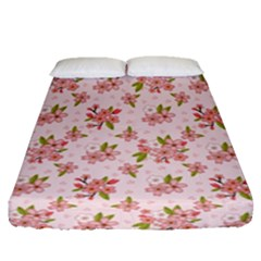 Beautiful hand drawn flowers pattern Fitted Sheet (Queen Size)