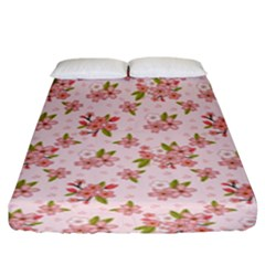 Beautiful hand drawn flowers pattern Fitted Sheet (King Size)