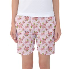Beautiful hand drawn flowers pattern Women s Basketball Shorts