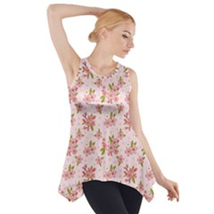 Beautiful hand drawn flowers pattern Side Drop Tank Tunic