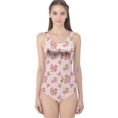 Beautiful hand drawn flowers pattern One Piece Swimsuit