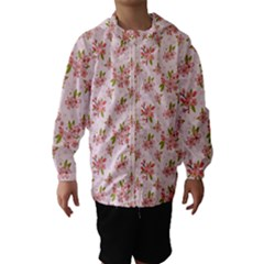 Beautiful hand drawn flowers pattern Hooded Wind Breaker (Kids)