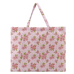 Beautiful hand drawn flowers pattern Zipper Large Tote Bag