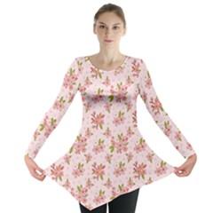 Beautiful hand drawn flowers pattern Long Sleeve Tunic