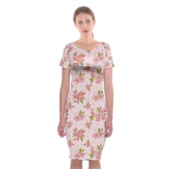 Beautiful hand drawn flowers pattern Classic Short Sleeve Midi Dress