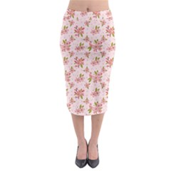 Beautiful hand drawn flowers pattern Midi Pencil Skirt