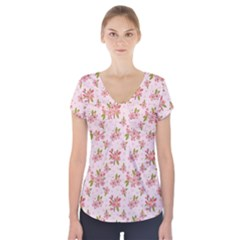 Beautiful hand drawn flowers pattern Short Sleeve Front Detail Top