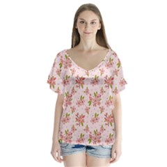 Beautiful hand drawn flowers pattern Flutter Sleeve Top