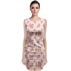 Beautiful hand drawn flowers pattern Sleeveless Velvet Midi Dress