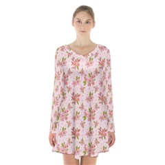 Beautiful hand drawn flowers pattern Long Sleeve Velvet V-neck Dress