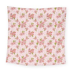 Beautiful hand drawn flowers pattern Square Tapestry (Large)