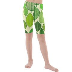 Leaves pattern design Kids  Mid Length Swim Shorts