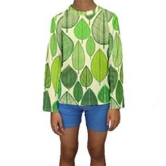Leaves pattern design Kids  Long Sleeve Swimwear