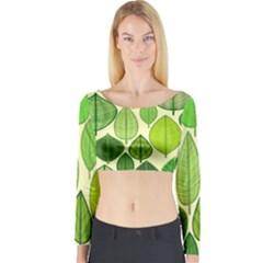 Leaves pattern design Long Sleeve Crop Top