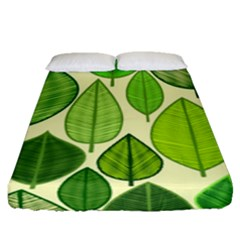Leaves pattern design Fitted Sheet (Queen Size)