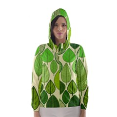 Leaves pattern design Hooded Wind Breaker (Women)