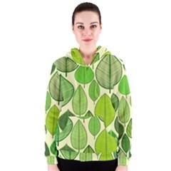 Leaves pattern design Women s Zipper Hoodie