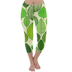 Leaves pattern design Capri Winter Leggings