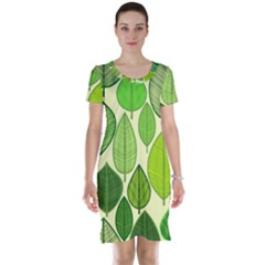 Leaves pattern design Short Sleeve Nightdress