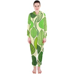 Leaves pattern design Hooded Jumpsuit (Ladies)