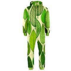 Leaves pattern design Hooded Jumpsuit (Men)