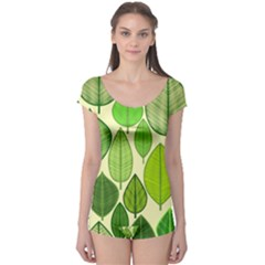 Leaves pattern design Boyleg Leotard