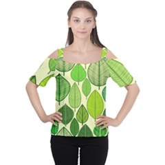 Leaves pattern design Women s Cutout Shoulder Tee