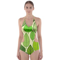 Leaves pattern design Cut-Out One Piece Swimsuit