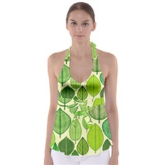 Leaves pattern design Babydoll Tankini Top