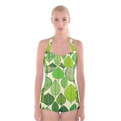 Leaves pattern design Boyleg Halter Swimsuit