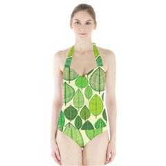 Leaves pattern design Halter Swimsuit