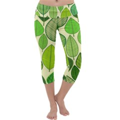 Leaves pattern design Capri Yoga Leggings
