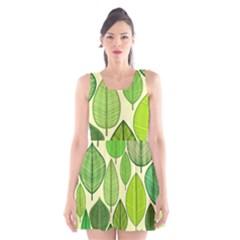 Leaves pattern design Scoop Neck Skater Dress